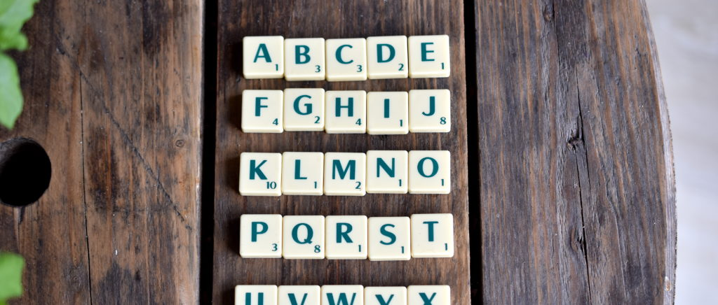 Lettres Scrabble pour glossaire
